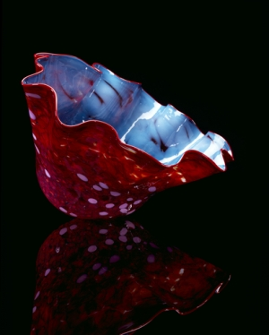 Turquoise Blue Macchia with Red Jasper Lip Wrap by Dale Chihuly