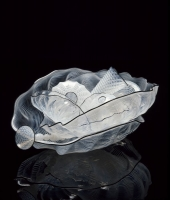 Icy White Seaform Set with Carbon Lip Wraps by Dale Chihuly
