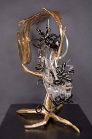 Arboreal Mudra: Bronze, Stainless Steel, Glass