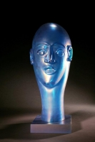 Head as Egg Iridescent Aqua Bust Oval by Richard Jolley