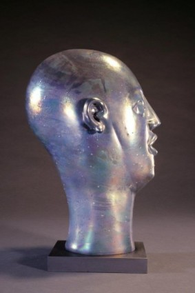 Head As Egg Chocolate Iridescent Lava Bust Side View