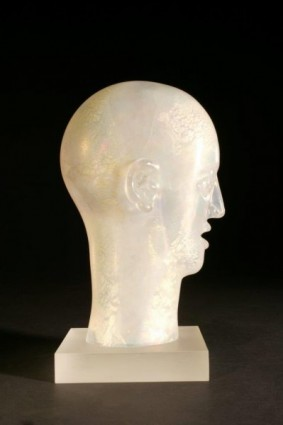 Head as Egg Iridescent Crystal Bust with Gold and Silver Leaf
